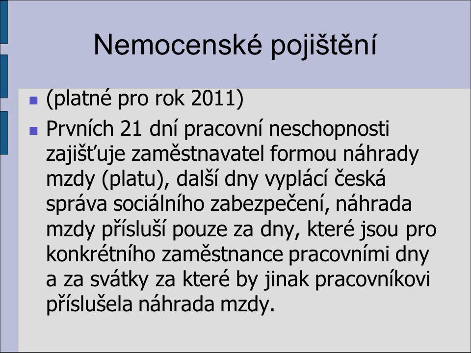 Nemocenské pojištění (platné pro rok 2011)