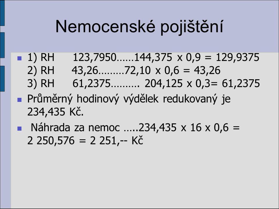 Nemocenské pojištění 1) RH 123,7950……144,375 x 0,9 = 129,9375 2) RH 43,26………72,10 x 0,6 = 43,26 3) RH 61,2375………. 204,125 x 0,3= 61,2375.