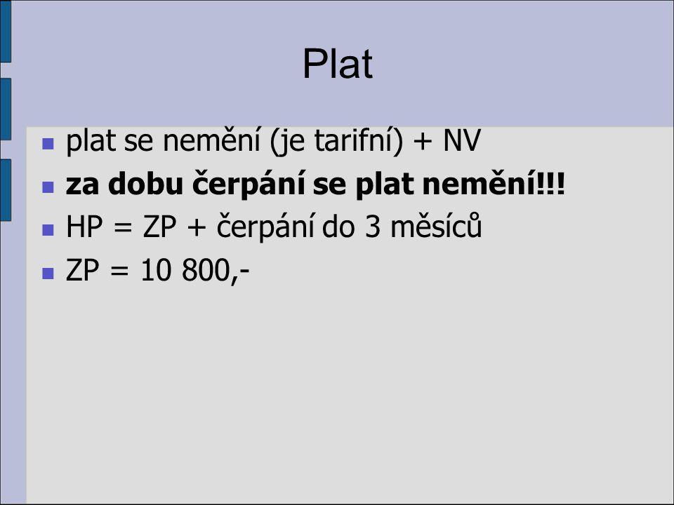 Plat plat se nemění (je tarifní) + NV