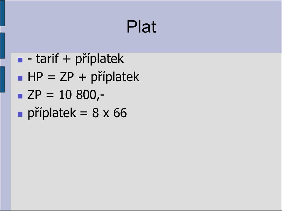 Plat - tarif + příplatek HP = ZP + příplatek ZP = 10 800,-