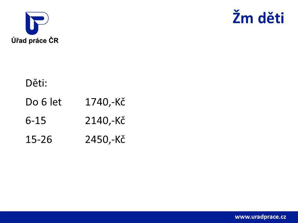 Žm děti Děti: Do 6 let 1740,-Kč 6-15 2140,-Kč 15-26 2450,-Kč