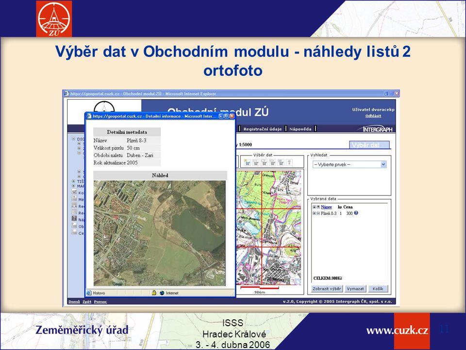 Výběr dat v Obchodním modulu - náhledy listů 2 ortofoto