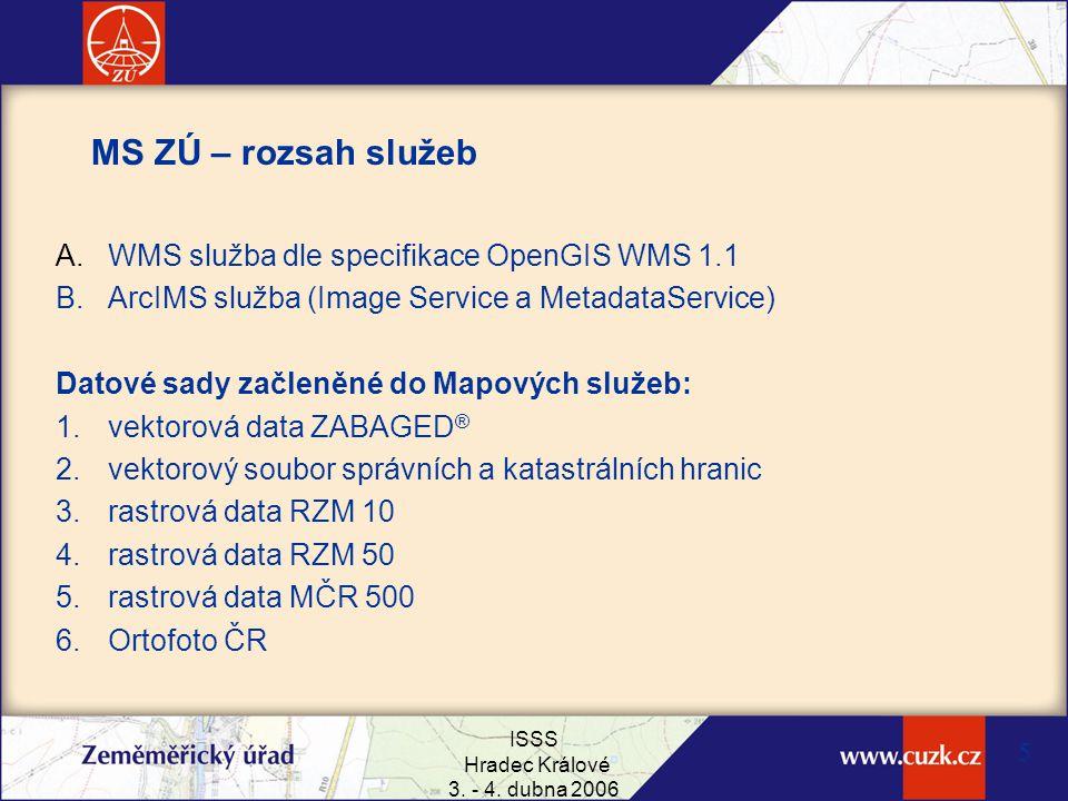 MS ZÚ – rozsah služeb WMS služba dle specifikace OpenGIS WMS 1.1