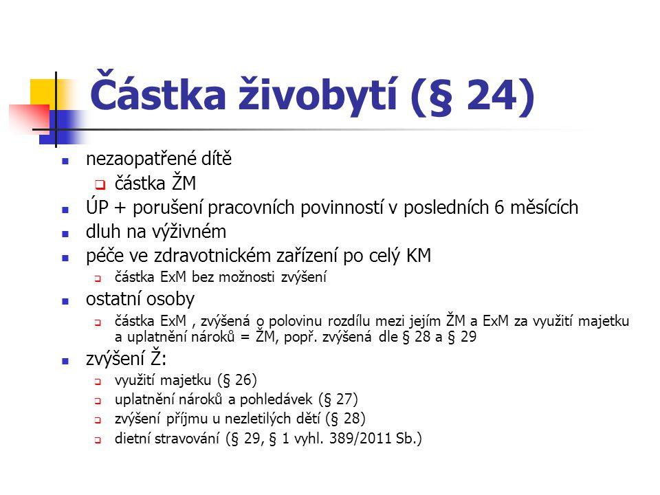 Částka živobytí (§ 24) nezaopatřené dítě částka ŽM