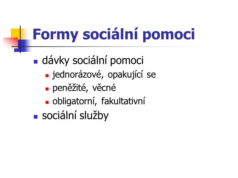 Formy sociální pomoci dávky sociální pomoci sociální služby