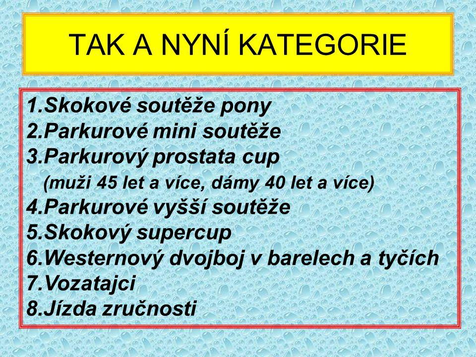 TAK A NYNÍ KATEGORIE Skokové soutěže pony Parkurové mini soutěže