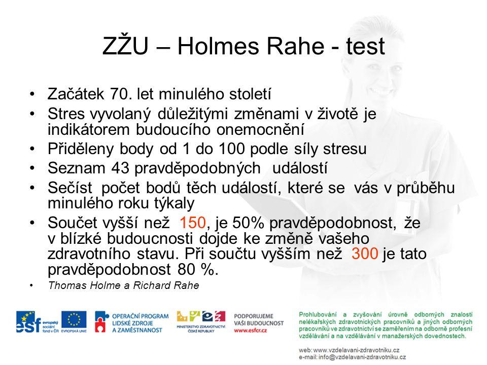 ZŽU – Holmes Rahe - test Začátek 70. let minulého století