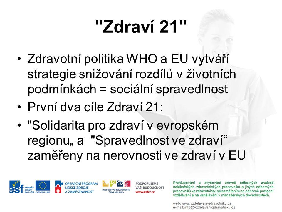 Zdraví 21 Zdravotní politika WHO a EU vytváří strategie snižování rozdílů v životních podmínkách = sociální spravedlnost.
