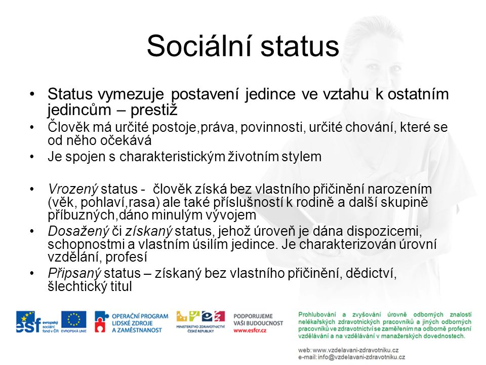 Sociální status Status vymezuje postavení jedince ve vztahu k ostatním jedincům – prestiž.