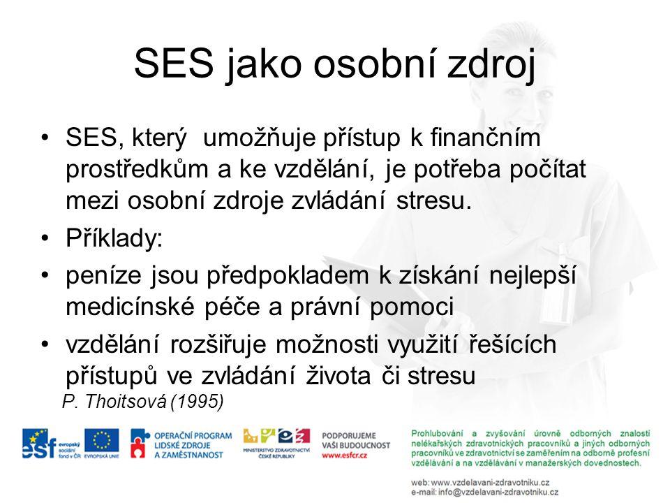 SES jako osobní zdroj SES, který umožňuje přístup k finančním prostředkům a ke vzdělání, je potřeba počítat mezi osobní zdroje zvládání stresu.