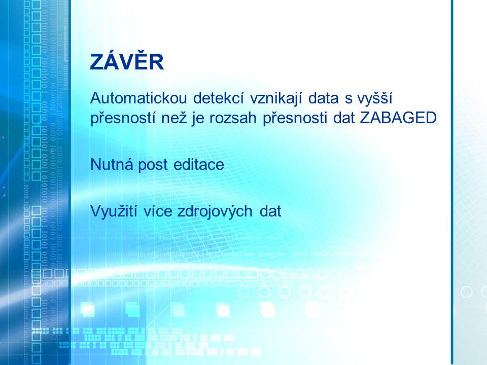 ZÁVĚR Automatickou detekcí vznikají data s vyšší přesností než je rozsah přesnosti dat ZABAGED. Nutná post editace.
