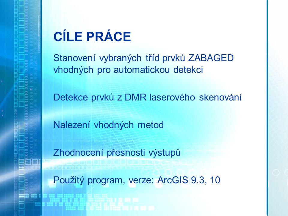 Cíle práce Stanovení vybraných tříd prvků ZABAGED vhodných pro automatickou detekci. Detekce prvků z DMR laserového skenování.