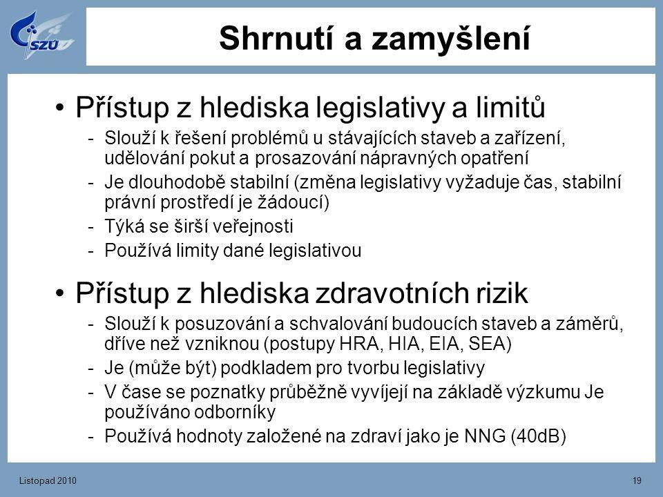 Shrnutí a zamyšlení Přístup z hlediska legislativy a limitů