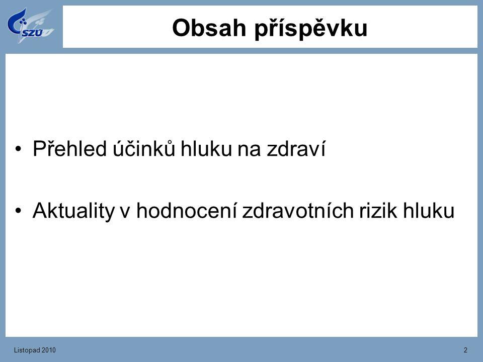 Obsah příspěvku Přehled účinků hluku na zdraví