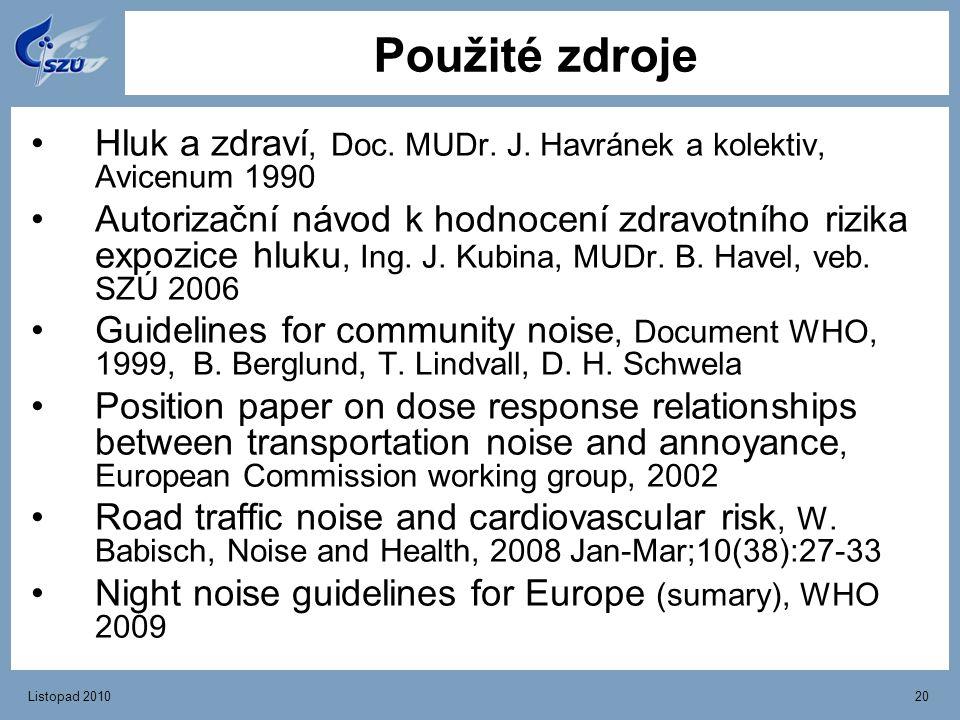 Použité zdroje Hluk a zdraví, Doc. MUDr. J. Havránek a kolektiv, Avicenum 1990.