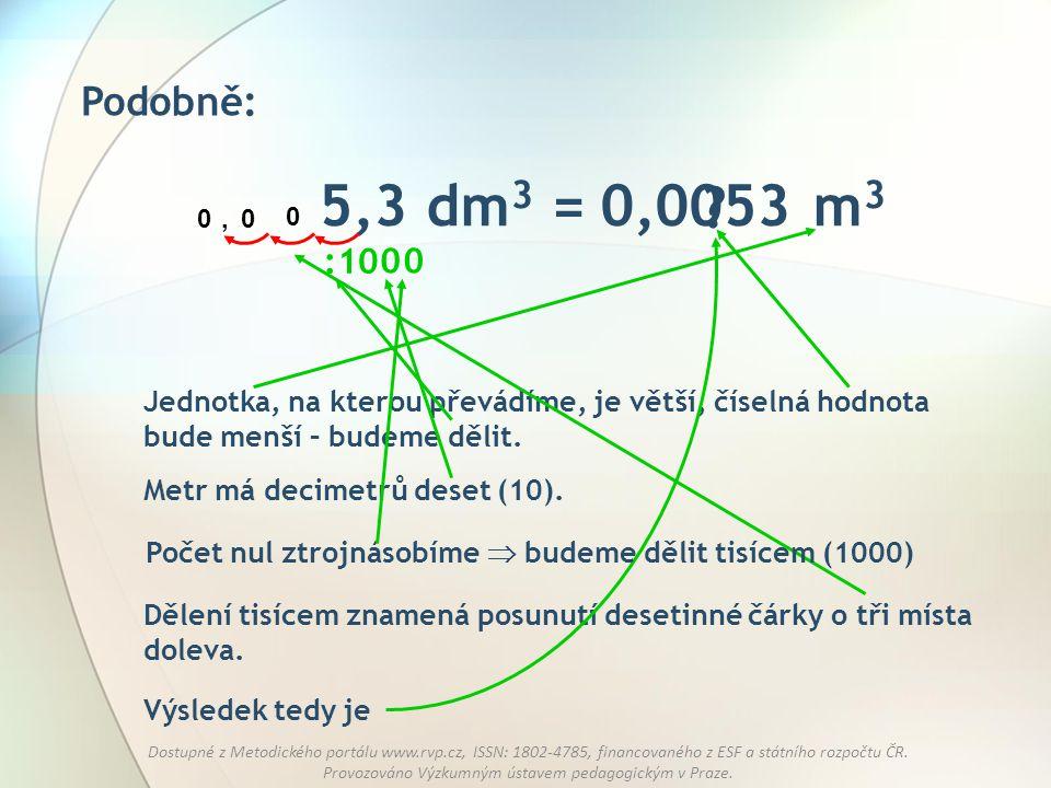 Podobně: 5,3 dm3 = m3. 0,0053. , : 10. Jednotka, na kterou převádíme, je větší, číselná hodnota bude menší – budeme dělit.
