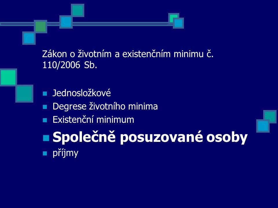 Zákon o životním a existenčním minimu č. 110/2006 Sb.