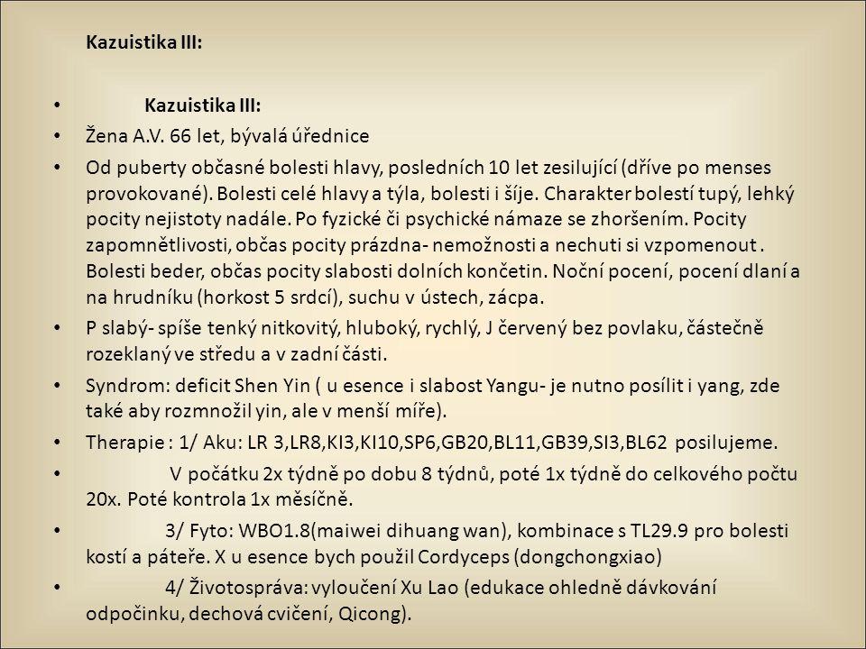 Kazuistika III: Žena A.V. 66 let, bývalá úřednice.