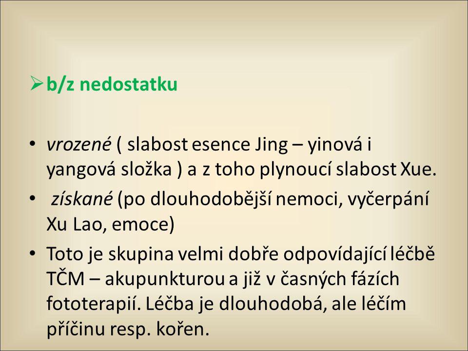 b/z nedostatku vrozené ( slabost esence Jing – yinová i yangová složka ) a z toho plynoucí slabost Xue.
