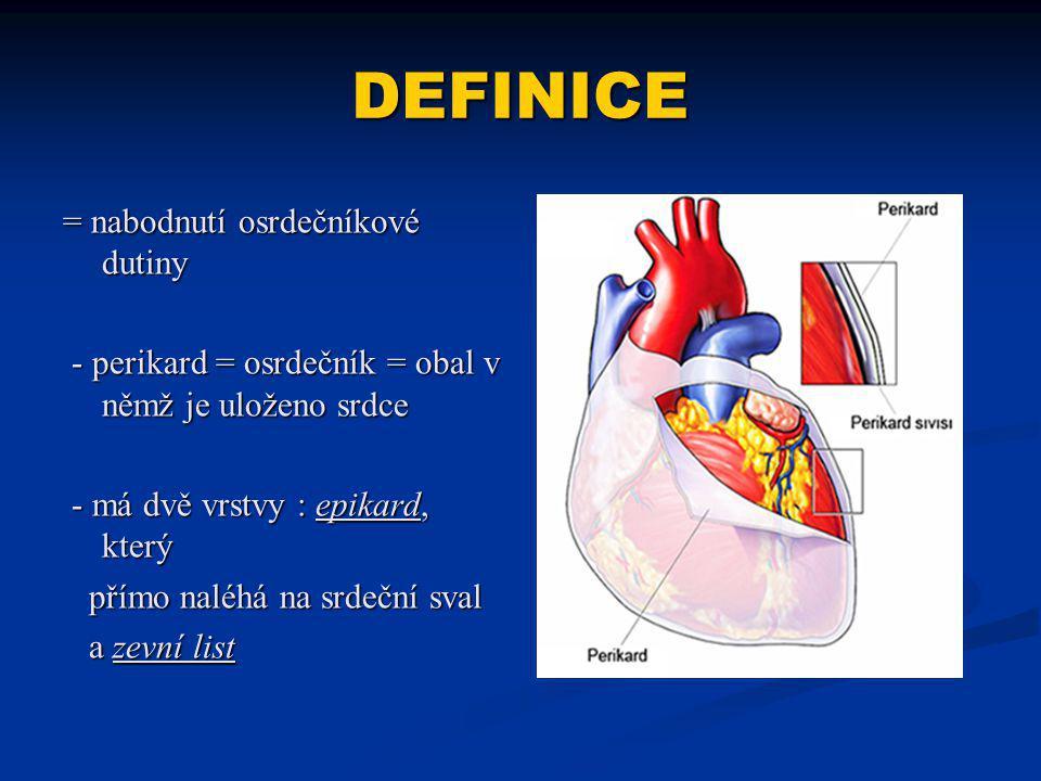 DEFINICE = nabodnutí osrdečníkové dutiny