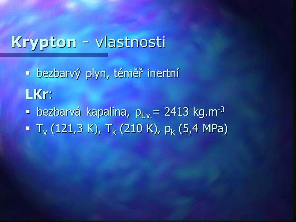 Krypton - vlastnosti LKr: bezbarvý plyn, téměř inertní