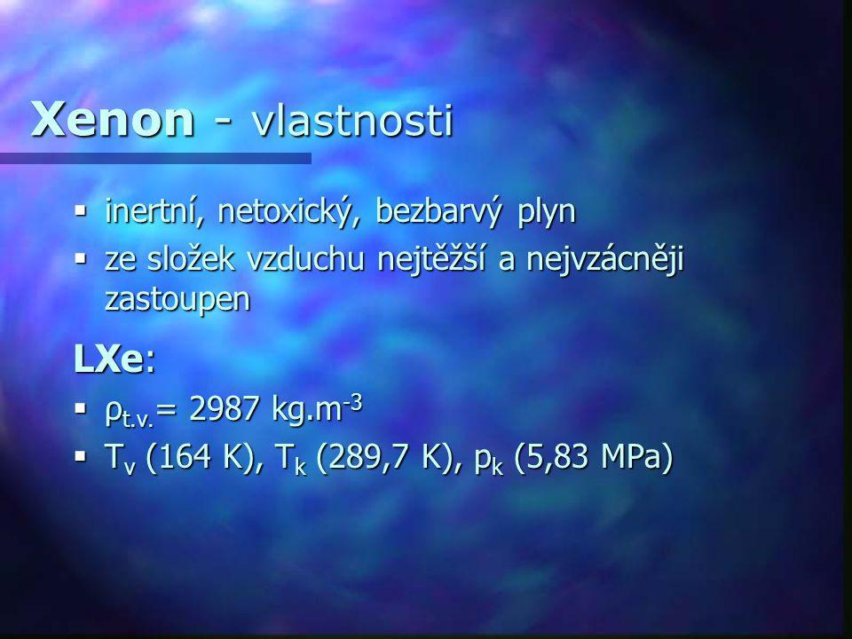 Xenon - vlastnosti LXe: inertní, netoxický, bezbarvý plyn