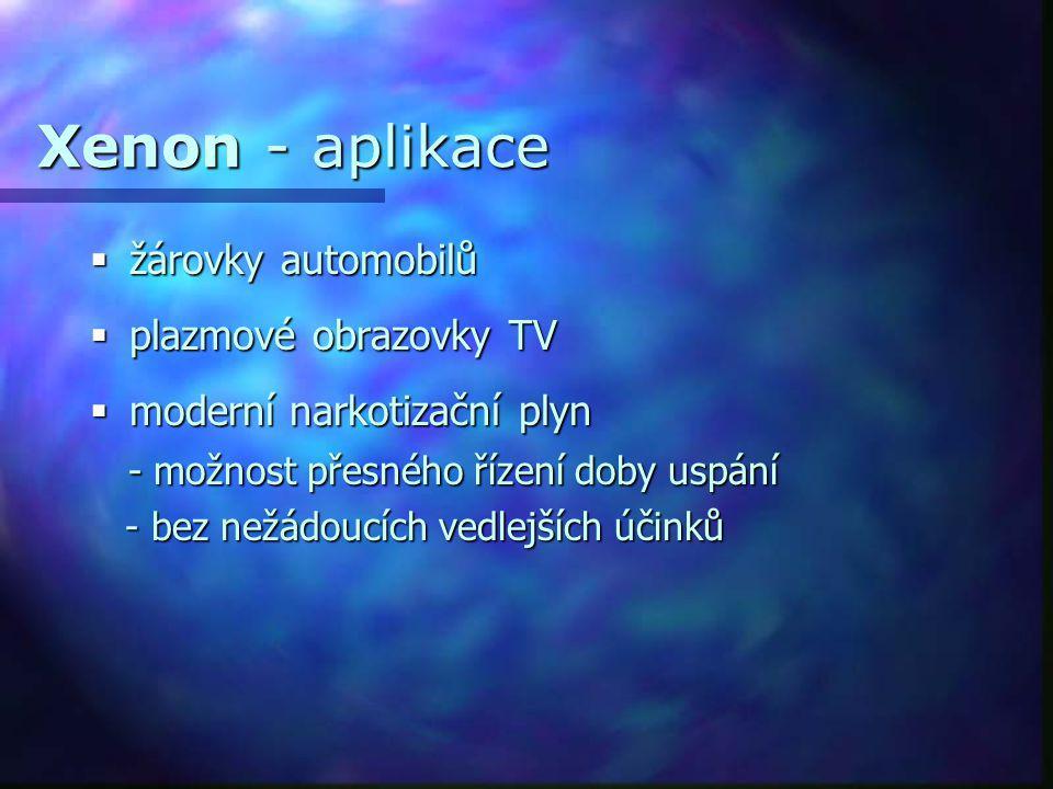 Xenon - aplikace žárovky automobilů plazmové obrazovky TV
