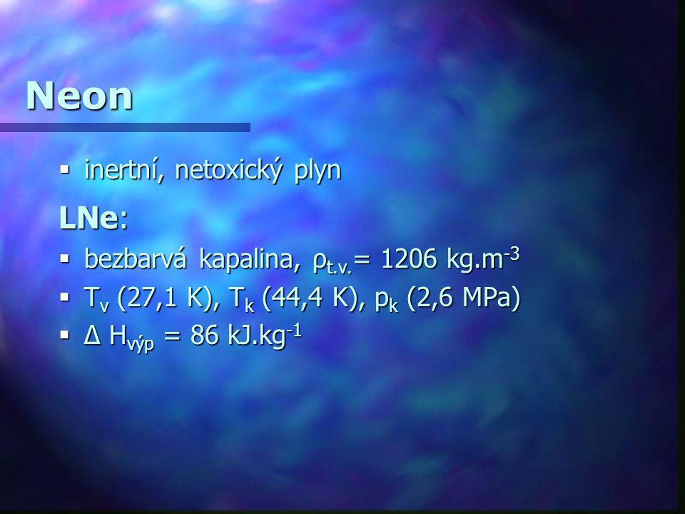 Neon LNe: inertní, netoxický plyn