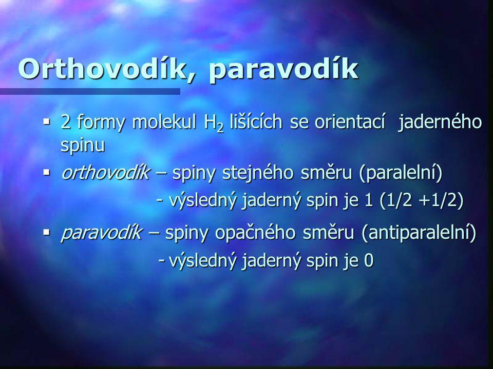 Orthovodík, paravodík 2 formy molekul H2 lišících se orientací jaderného spinu. orthovodík – spiny stejného směru (paralelní)