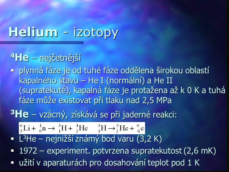 Helium - izotopy 4He – nejčetnější