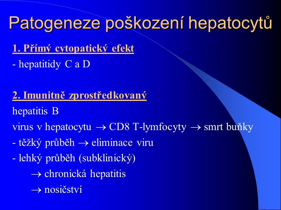 Patogeneze poškození hepatocytů
