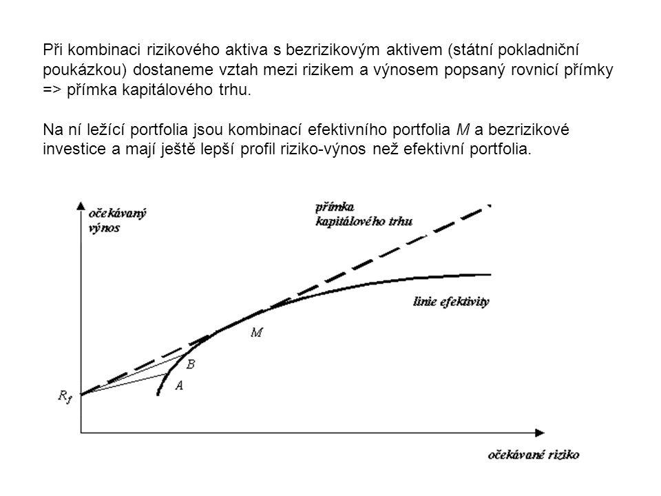 Při kombinaci rizikového aktiva s bezrizikovým aktivem (státní pokladniční poukázkou) dostaneme vztah mezi rizikem a výnosem popsaný rovnicí přímky => přímka kapitálového trhu.