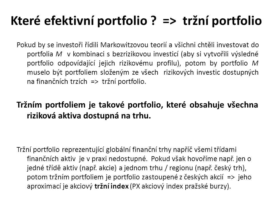 Které efektivní portfolio => tržní portfolio