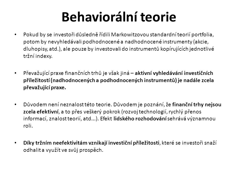 Behaviorální teorie
