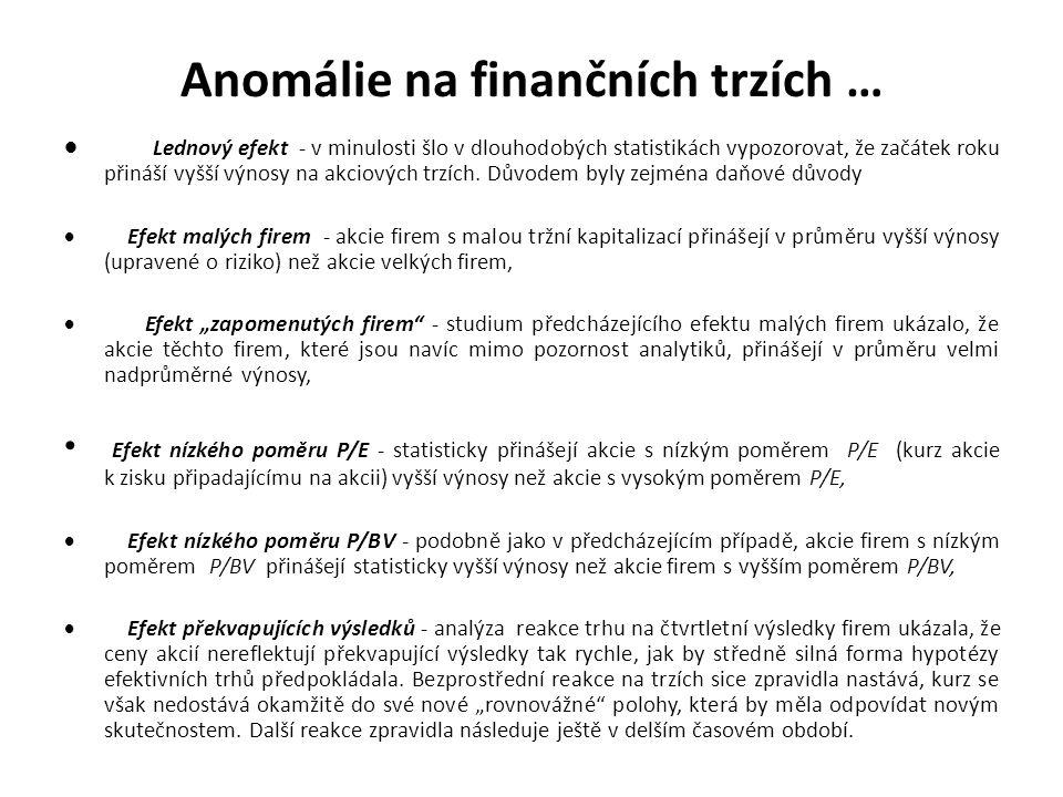 Anomálie na finančních trzích …