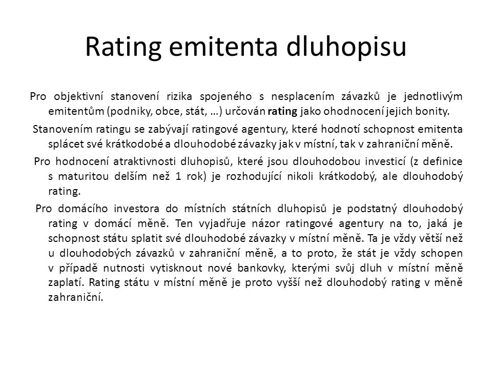Rating emitenta dluhopisu