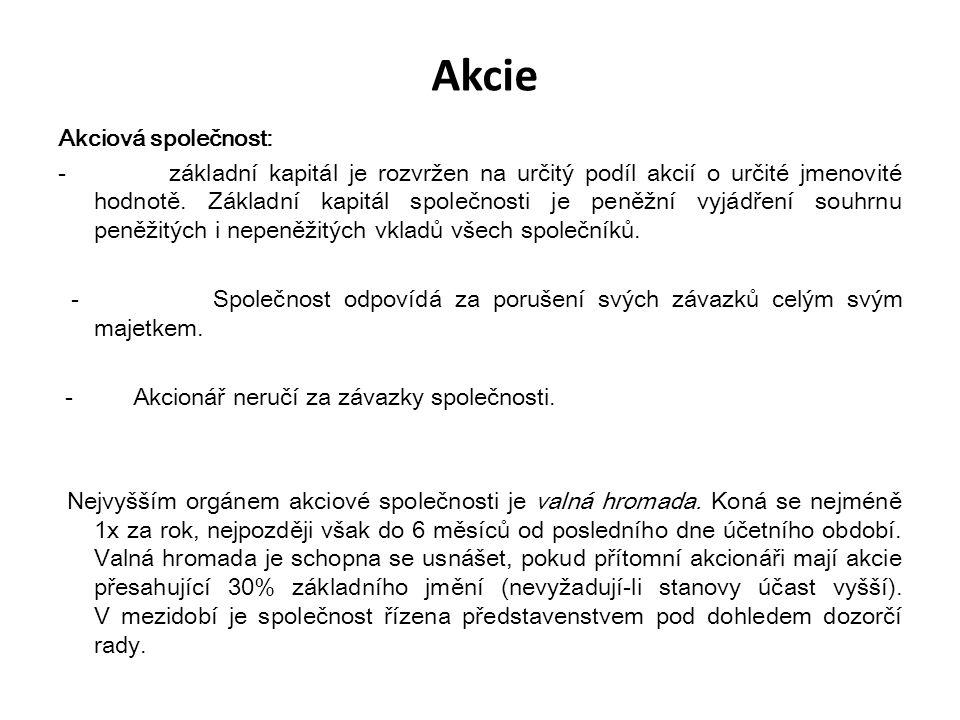 Akcie Akciová společnost: