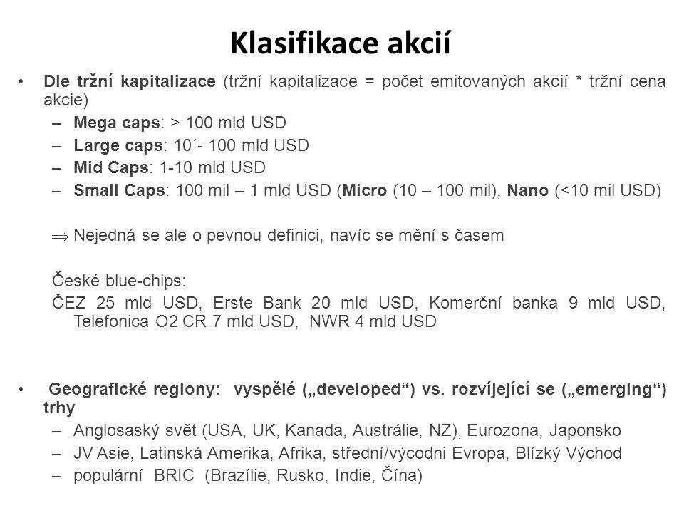 Klasifikace akcií Dle tržní kapitalizace (tržní kapitalizace = počet emitovaných akcií * tržní cena akcie)