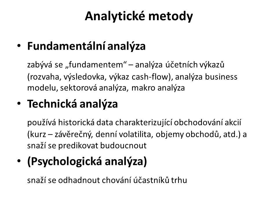 Analytické metody Fundamentální analýza