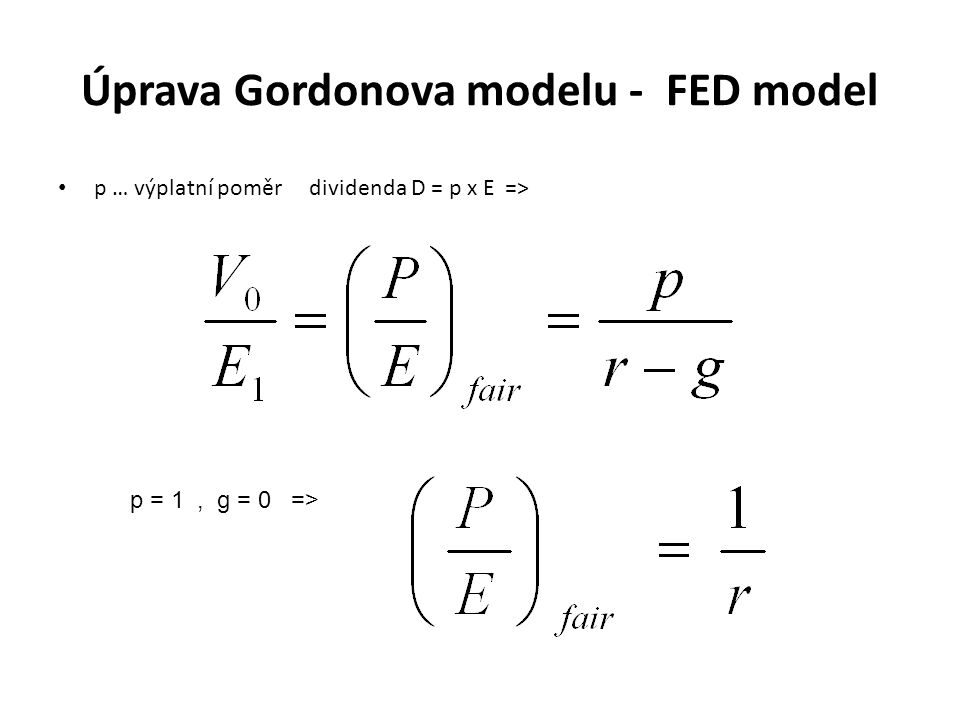 Úprava Gordonova modelu - FED model