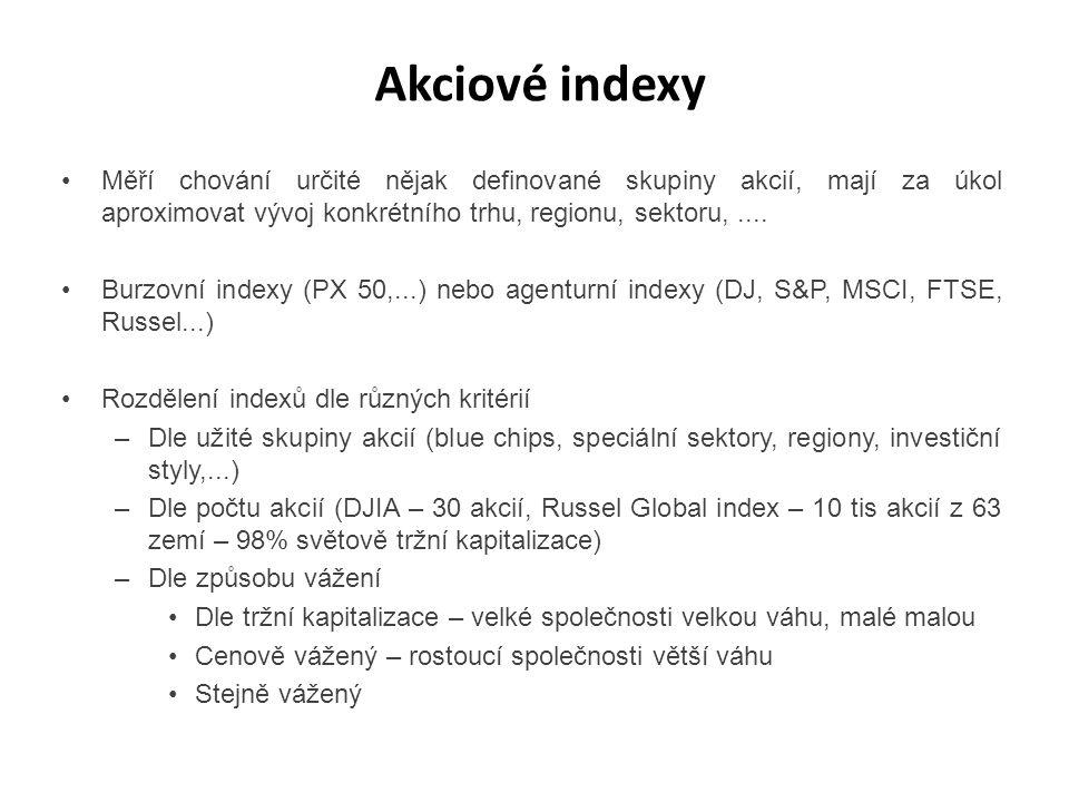 Akciové indexy Měří chování určité nějak definované skupiny akcií, mají za úkol aproximovat vývoj konkrétního trhu, regionu, sektoru, ....