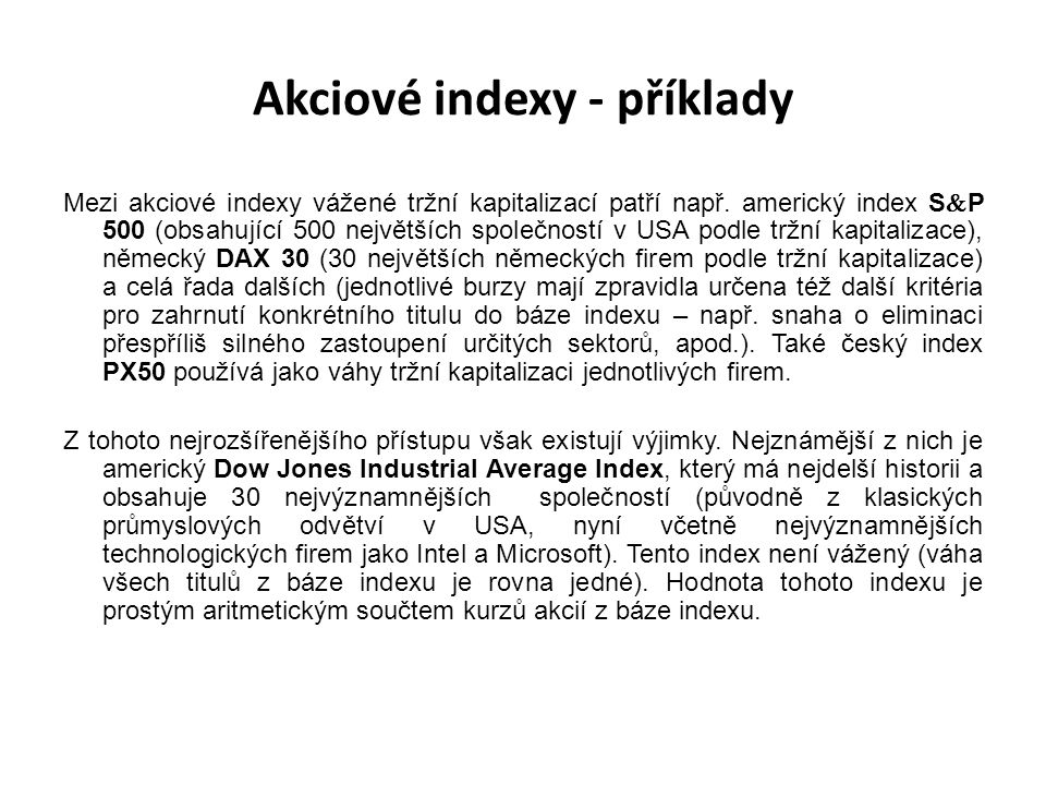 Akciové indexy - příklady
