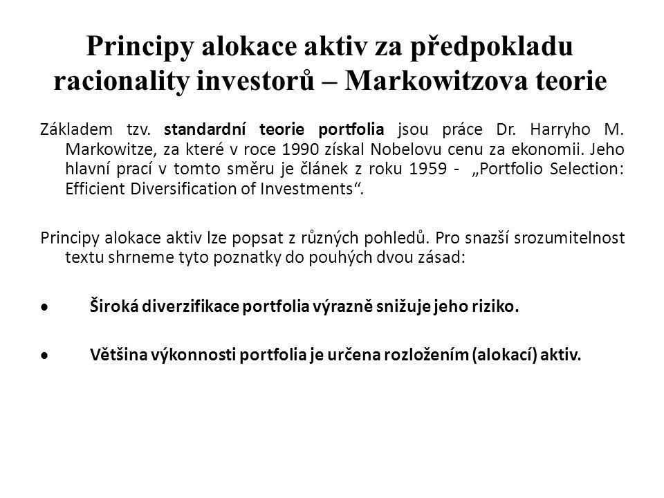Principy alokace aktiv za předpokladu racionality investorů – Markowitzova teorie
