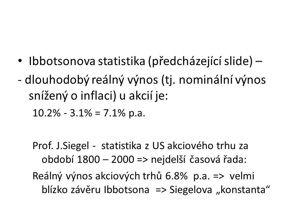 Ibbotsonova statistika (předcházející slide) –