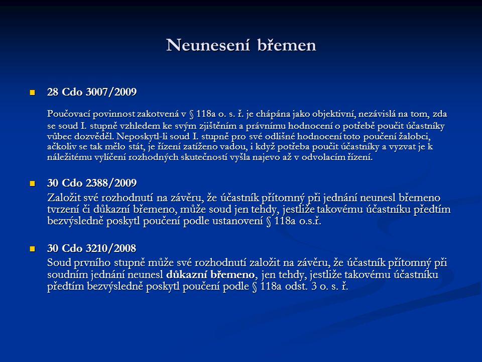 Neunesení břemen 28 Cdo 3007/2009.
