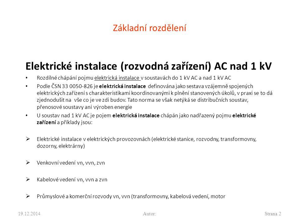Elektrické instalace (rozvodná zařízení) AC nad 1 kV