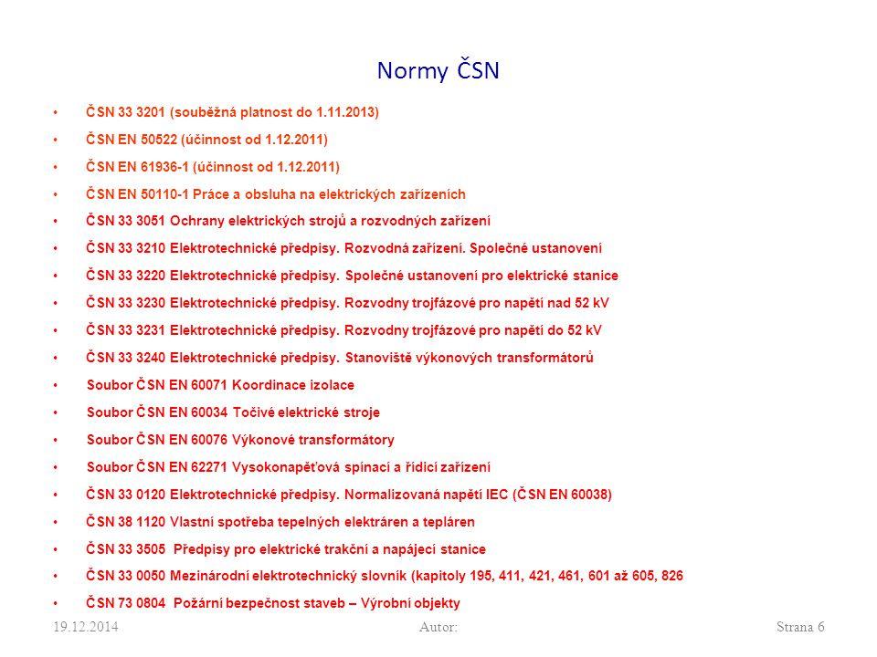 Normy ČSN 7.4.2017 Autor: ČSN 33 3201 (souběžná platnost do 1.11.2013)