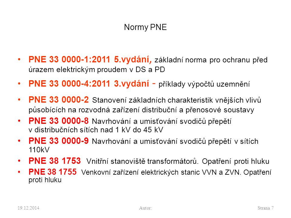 PNE 33 0000-4:2011 3.vydání - příklady výpočtů uzemnění