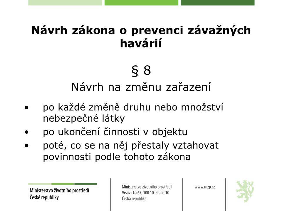 Návrh zákona o prevenci závažných havárií