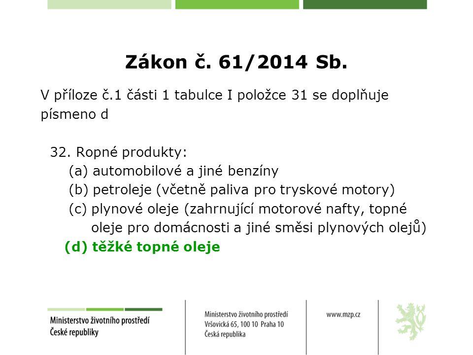 Zákon č. 61/2014 Sb. V příloze č.1 části 1 tabulce I položce 31 se doplňuje. písmeno d. 32. Ropné produkty:
